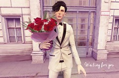 Charmer (drayton.miles) Tags: deadwool suit tux roses rose flower flowers waiting date charm charmer smile alive doyle marrison second sl secondlife mesh cute love bouquet set wait