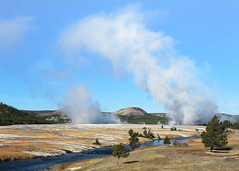 Firehole River Panorama II (witajny) Tags: 2014 nature river mountains geyser fireholeriver trees valley outdoor landscapes yellowstonenationalpark yellowstone landscapephotography naturepictures wyoming nationalpark sky forest travel landscape smokey