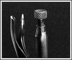 Beneficial relationship (Bob R.L. Evans) Tags: tool metal vicegrip blackandwhite lightandshadow lowkey ipadphotography symbol closeup