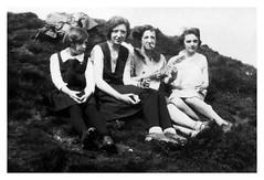 Banjo (vintagesmoke) Tags: vintage snapshot found photo photograph girls women smoking cigarette banjo fashion monochrome black white