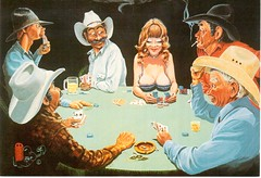 Postcrossing US-4634770 (booboo_babies) Tags: politicallyincorrect woman men playingcards cowboy funny humor postcrossing breasts