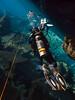 Entering Chac Mool (altsaint) Tags: 714mm chacmool gf1 mexico panasonic cavern caverndiving cenote scuba underwater