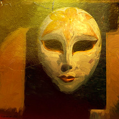 The Golden Mask of Spring (Lemon~art) Tags: goldleaf gold mask spring manipulation painted art face