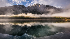 Morning silence (hjuengst) Tags: plansee fog mist foggy misty reflection mountain symmetry lake reutte
