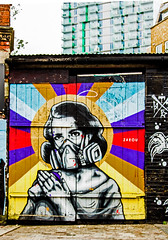 gas mask domesticity (PDKImages) Tags: londonstreetart london shoreditch shoreditchstreetart graffiti art wallart contrasts streetscenes urbanart colours