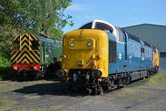 D3022 and 55018 Kidderminster TMD 07/05/2017 (Brad Joyce 37) Tags: d3022 55018 class08 class55 deltic kidderminstertmd locomotive engine diesel train blue severnvalleyrailway