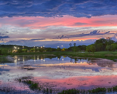Ballpark Sunset (Kansas Poetry (Patrick)) Tags: sunset color colors pink reflections arboreum baseball pond summer kansas lawrencekansas patrickemerson patricklovesnancy