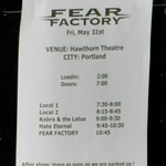 Fear Factory - Hawthorne Theatre - Portland, OR - 05/31/13