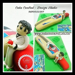 Cricket Themed Cake #cricket #cricketcake #cricketlover #bat #ball #pitch #newdelhi# #designerca#southdelhi#designercake #delhi #fondant #themed #kidscake  #designer #cake #birthdaycake #onlineorder #newdelhi (Cake Central-Design Studio) Tags: firstbrthday designercake delhi fondant themed kidscake