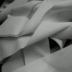 Unrolled white tissue tape chaotic folds in  3D space B&W (sandroraffini) Tags: 2d 3d tape moebius folds space white bw abandoned sony rx100 exploration square sandroraffini abstract tissue
