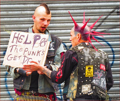 `1964 (roll the dice) Tags: london camden nw1 punk music expression streetphotography mohawk colours men rough sign drunk pissed drink booze help begging mad sad funny surreal people fashion shops shopping londonist canon tourism tourists spike advertising warning toxic graffiti anarchy money pint beer urban unaware unknown uk england bullet portrait candid strangers market gate tattoo pink outrage scared words