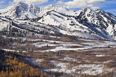Winter in the Wasatch Mountains of Northern Utah (Utah Images - Douglas Pulsipher) Tags: wasatchmountains mtogden utah ut snowbasin mount morning snow snowy peak peaks jagged rugged crag crags craggy wilderness snowcovered winter alpine travel skiresort tourism vacation holiday holidays traveldestination mt mountainous pinetrees pines aspen aspentrees aspens forest forested western day daytime sunny