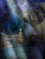 Paraje nocturno (seguicollar) Tags: imagencreativa photomanipulación art arte artecreativo artedigital virginiaseguí paseo luna azul bleu baranda bola valla