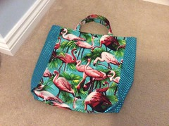 Flamingo Sparkly Shopper Bag (crafty_r) Tags: print palm tropical birds glamorous pink green turquoise sewing handmade fabric stretch sparkly cotton shopper shopping bag tote flamingo