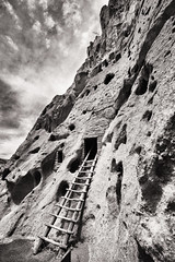 Bandelier National Monument ([ raymond ]) Tags: blackandwhite bnw infrared landscape newmexico img5340edit ladder
