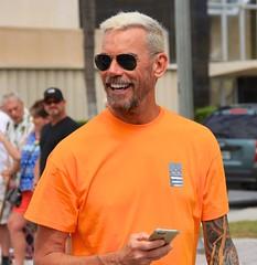 Smiling grandpa (LarryJay99 ) Tags: male pridefest man dude goatee peekingpitch lakeworth sunglasses dudes guys facialhair peekingnipples guy city streets florida prideparade men tattoo smile urban glasses tatts mustache beard canonefs18135mmf3556is