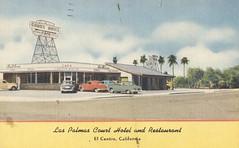 Las Palmas Court Hotel and Restaurant - El Centro, California (The Cardboard America Archives) Tags: 1965 california wishyouwerehear vintage motel postcard