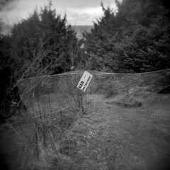 Whatever Happened to Dan? (LowerDarnley) Tags: holga oregon oregoncoast cannonbeach sign broken fence closed trail danger