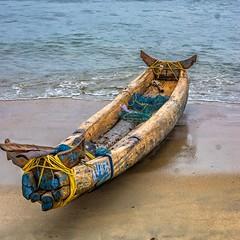 Mussel-Diver's Canoe (gecko47) Tags: canoe catamaran logs lashed yokes bamboopaddle net beached samudrabeach kovalam kerala trivandrum thiruvananthapuram india musselcollecting shellfish seafood arabiansea boat