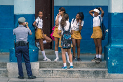 Havana youth at work and play (I saw_that) Tags: school girls truancy paseo marti havana cool cool2 cool3 cool4 cool5 uncool cool6 cool7 iceboxcool blue travel vacation gold police digital downtown friends city yellow orange habana
