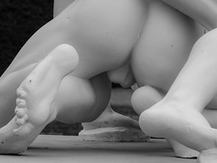 Testicles (tubblesnap) Tags: statue wrestling marble testicles nude fountains abbey black white bw