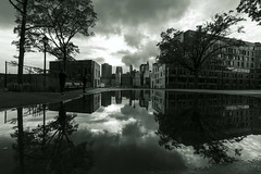 """""""After the Rain"""" (∤ Esther ∤) Tags: park sky reflections hdr water reflection window buildings rain new york building black white dark skyline skyscraper city nyc future brooklyn manhattan"""