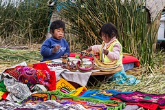 """""""Uros"""" children playing on a floating island, TIticaca Lake (3812 m.) (dvdcrst) Tags: uros peru people children floating island titicaca lake colours play indigenous"""