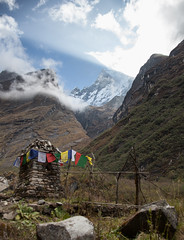 A long walk through the Himalayas... (Sitoo) Tags: annapurnasanctuary machhapuchchhre machhapuchhre annapurna annapurnabasecamp backfromabc campobaseannapurna clouds cloudy fishtail flags himalaya mountainpeak mountainrange mountains nepal rock rocky trek trekking valley