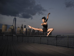 Dancer (Narratography by APJ) Tags: apj dance narratography nj jerseycity hudsonriver skyline dusk night clouds beautiful dancer