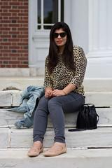 leopard blouse, grey jeans, denim jacket, fringe bag-5.jpg (LyddieGal) Tags: black bucketbag denim fashion fringebag gap grey jcrew laceupflats leopard officestyle outfit spring style sunglasses thrifted tjmaxx wardrobe