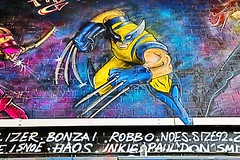Wolverine (OtherArt) Tags: robbo painting paint waterloo xmen graffiti wolverine comic grafitti art marvel street canon 80d flickr 1585 colour blue yellow streetart london
