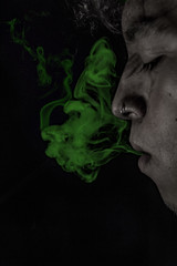 Sesión con humo (Luis Nicolas Rangone) Tags: humo canon humodecolor coloredsmoke smoke colores portrait retrato t5 face nose piercing smoking canonista 1200d black background sesión editado photoshop