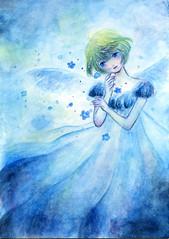 Blue Angel1 (Yukino.suzu) Tags: angel blue girl watercolor illustration