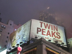Twin Peaks Billboard Times Square 2017 Foggy Night NYC 4846 (Brechtbug) Tags: twin peaks the return billboard poster ad laura palmer sheryl lee fbi agent dale cooper kyle maclachlan mystery 90s show showtime type mysterious bird birds owl owls may 05212017 9pm 2017 nyc broadway 50th st near times square midtown manhattan street new york city streets 04272017 hazy fog foggy night nite