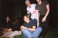 On the lawn (Gary Kinsman) Tags: hampsteadstudentcampus hampstead childshill nw3 kidderporeavenue london film kingscollegelondon kcl hallsofresidence studentcampus students university fun youth young 2002 flash candid unposed