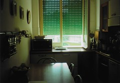 tidy kitchen (louisethezero) Tags: kitchen cucina home house oven window green light konica c35 sicily messina