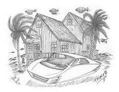 Triple B (rod1691) Tags: bangkok bw sketch scifi alien concept custom car retro space hotrod drawing pencil h2 hb ink original story fantasy funny automotive art illistration greyscale moonpies