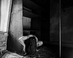 Tried to lose myself in the primitive (sadandbeautiful (Sarah)) Tags: me woman female self selfportrait abandoned house bw