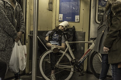 Athletes Need Rest Too/ SeatGeek (Explore) (PetterPhoto) Tags: newyork pettersandell petterphoto candid subway bike rest athlete underground train transportation street streetphotography urban city citylife poster sign seatgeek