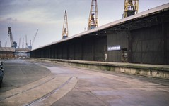 Tyne Commission Quay boat-train platform, 1985, with the cranes of Smith's Dock in the distance (colin9007) Tags: tyne commission quay station platform boat train north shields