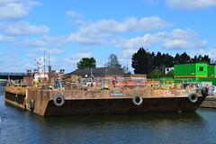 SWS Breda + Haven Seareach (5) @ KGV Lock 25-04-17 (AJBC_1) Tags: riverthames london ship boat vessel dlrblog england unitedkingdom uk ©ajc northwoolwich eastlondon newham londonboroughofnewham tug tugboat nikond3200 shipsinpictures barge royaldocks kgvlock kinggeorgevlock londonsroyaldocks docklands marineengineering swalshsonsltd swsbreda walsh damen cranebarge havenseareach damenmulticat2611 red7marine