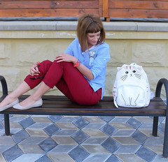 DSCN3490+Doshedevr+Ps (Mama Told Me) Tags: outfit look lookoftheday outfitoftheday lookbook marsala stripes cats backpack casual model fashionblogger fancy activered howtowear sunglasses catlook catlover