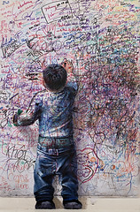gribouille (polo.d) Tags: kid child souvenir graffiti wall love boy dirty pen ink youth fun happiness childhood crazy writing