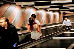 Red (Mi... Po Mi.) Tags: red kiss escalator redhair snap girl boyfriend stripes