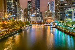 Before Morning (tquist24) Tags: chicago chicagoriver dusablebridge hdr illinois nikon nikond5300 trumptower wrigleybuilding bridge buildings city geotagged lights longexposure night reflection reflections river skyscrapers tree trees water unitedstates