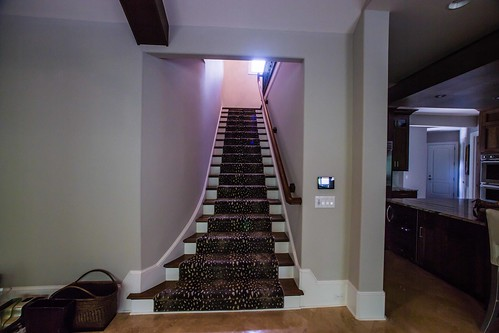 Classic flared staircase built and installed by Andronic's Construction co inc in Charlotte NC