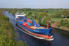 'RMS Veritas' Warburton bridge 8th May 2017 (John Eyres) Tags: rms veritas taken from warburton bridge heading outward for liverpool after leaving irlam container wharf circa 4pm 080517 manchestershipcanal