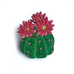Cactus Flower Brooch (Colourful Cactus Flowers) Tags: cactus flower brooch cacti jewellery jewlry wood easy folksy colourful flowers floral botanical fun quirky contemporary laser cut lasercut tropical