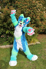Pulsar (themischiefmakers) Tags: blue turquoise uv green bright pink wolf fursuit commission mischiefmaker mischief makers fursuits fur shag paws