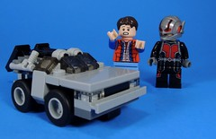 What did you do to my DeLorean!!! (MrKjito) Tags: lego minifig super hero antman delorean back future marty mcfly time machine shrink shrunk